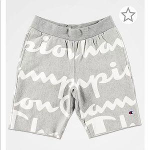 Champion Reverse Weave Script Grey Sweat Shorts  M